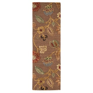 "Bloomsbury Handmade Floral Brown/ Multicolor Area Rug (2'6"" X 8')"