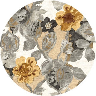Hand-tufted Transitional Floral Pattern Gray/ Black Rug (8' Round)