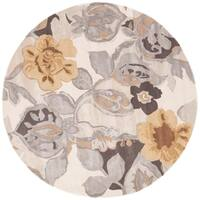 Clemente Handmade Floral Multicolor/ White Area Rug (8' X 8')