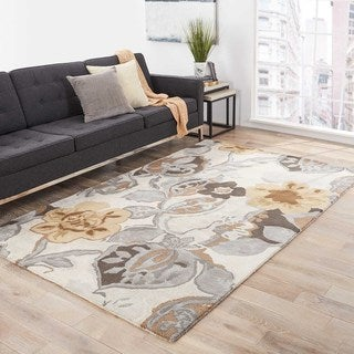 Hand-tufted Transitional Floral Pattern Gray/ Black Rug (2' x 3')