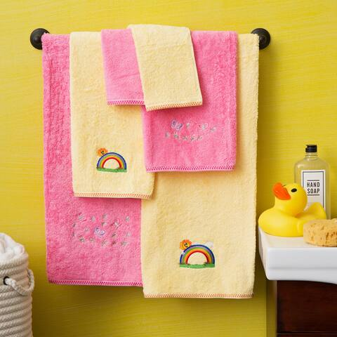 Lucia Minelli Butterfly/ Rainbow Embroidered Kids Turkish Cotton Bath Towel Set of 6