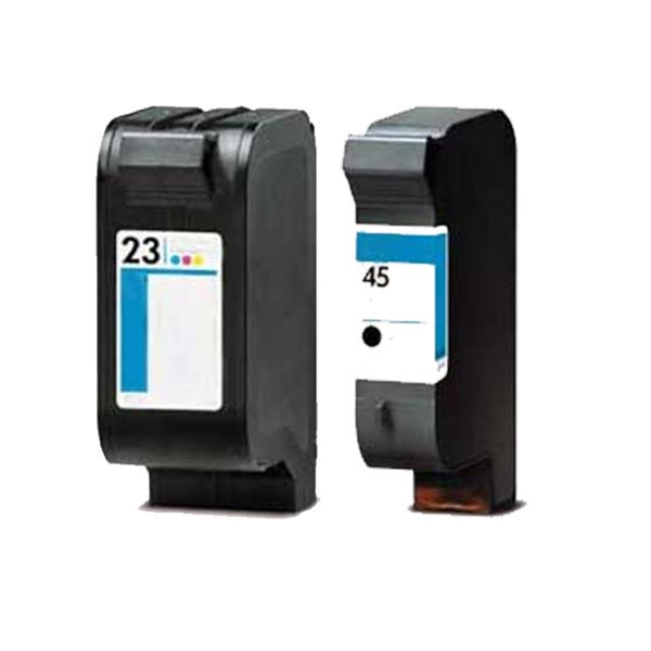 HP 51645A (HP 45) + HP C1823D (HP 23) Black + Tri-Color Compatible Ink Cartridge (Pack of 2)