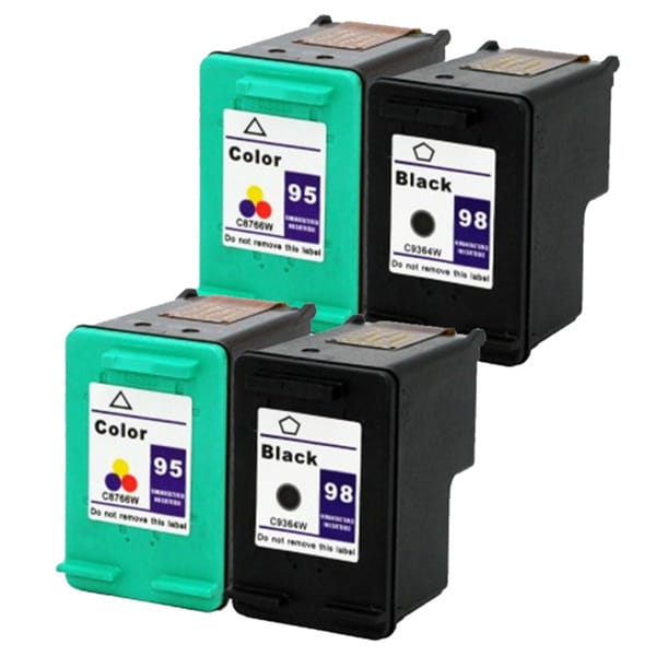HP 95/ 98 Black/ Tri-color Compatible Ink Cartridge (Pack of 4)