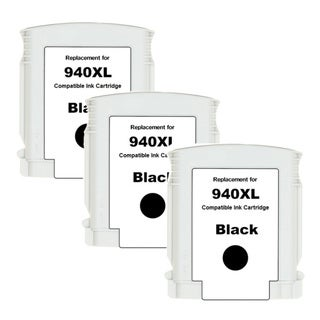 HP 940XL (C4906AN) Black High Yield Compatible Ink Cartridge (Pack of 3)