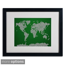 Michael Tompsett 'Soccer Balls World Map' Framed Matted Art