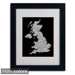 Michael Tompsett 'UK Cities Text Map 6' Framed Matted Art