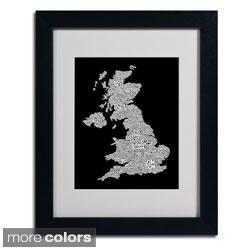 Michael Tompsett 'UK Cities Text Map 6' Framed Matted Art