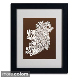 Michael Tompsett 'Chocolate Ireland Text Map' Framed Matted Art