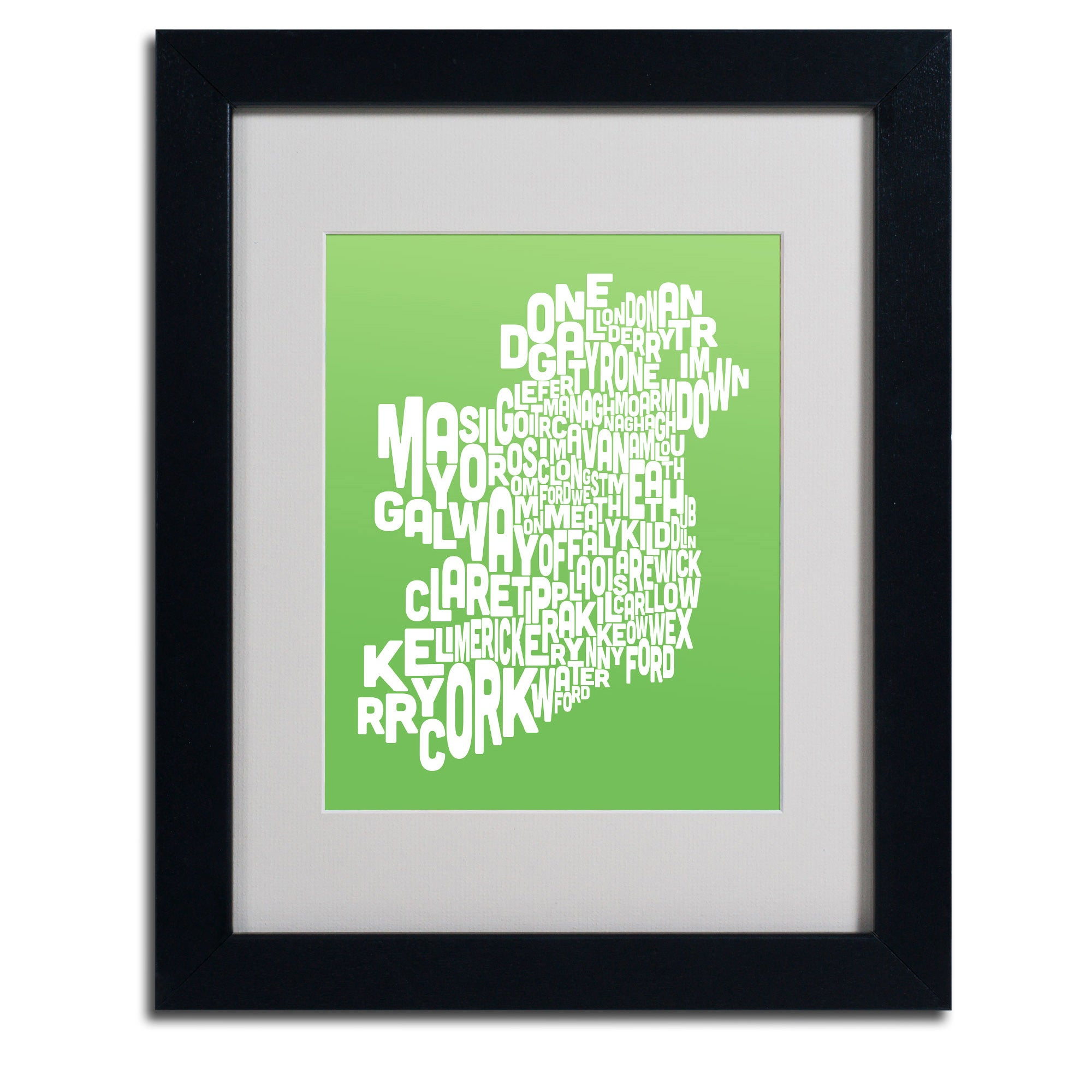 Michael Tompsett 'Lime Ireland Text Map' Framed Matted Art