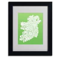 Michael Tompsett 'Lime Ireland Text Map' Framed Matted Art