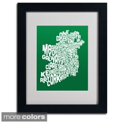 Michael Tompsett 'Forest Ireland Text Map' Framed Matted Art