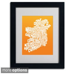 Michael Tompsett 'Orange Ireland Text Map' Framed Matted Art