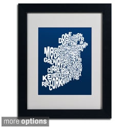 Michael Tompsett 'Navy Ireland Text Map' Framed Matted Art