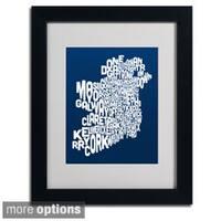 Michael Tompsett 'Navy Ireland Text Map' Framed Matted Art