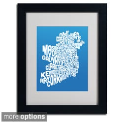 Michael Tompsett 'Summer Ireland Text Map' Framed Matted Art