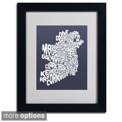 Michael Tompsett 'Slate Ireland Text Map' Framed Matted Art