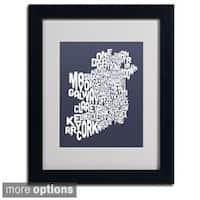 Michael Tompsett 'Slate Ireland Text Map' Framed Matted Art