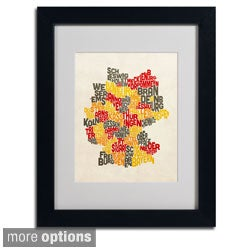 Michael Tompsett 'Germany Region Text Map' Framed Matted Art