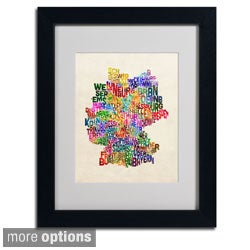 Michael Tompsett 'Germany Region Text Map 2' Framed Matted Art