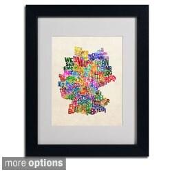 Michael Tompsett 'Germany Region Text Map 2' Framed Matted Art