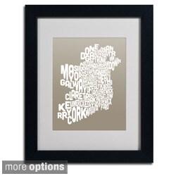Michael Tompsett 'Taupe Ireland Text Map' Framed Matted Art