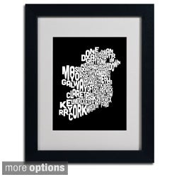 Michael Tompsett 'Ireland Text Map 5' Framed Matted Art