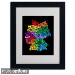 Michael Tompsett 'Germany Region Text Map 3' Framed Matted Art