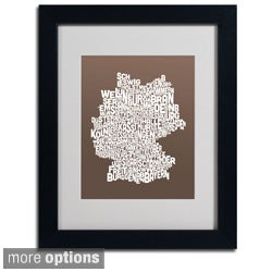 Michael Tompsett 'Coffee Germany Region Text Map' Framed Matted Art