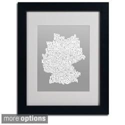 Michael Tompsett 'Neutral Germany Region Text Map' Framed Matted Art