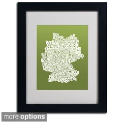 Michael Tompsett 'Olive Germany Region Text Map' Framed Matted Art