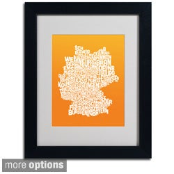 Michael Tompsett 'Orange Germany Region Text Map' Framed Matted Art