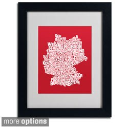 Michael Tompsett 'Red Germany Region Text Map' Framed Matted Art