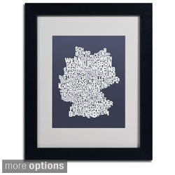 Michael Tompsett 'Slate Germany Region Text Map' Framed Matted Art