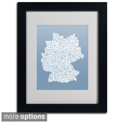 Michael Tompsett 'Steel Germany Region Text Map' Framed Matted Art