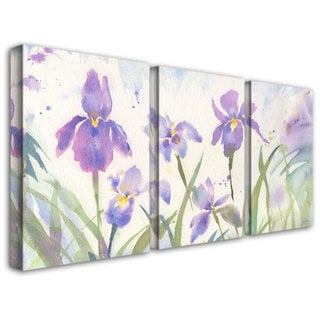Sheila Golden 'June Iris' 3 Piece Canvas Art