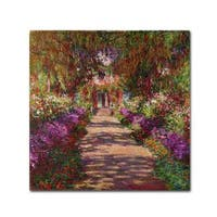 Claude Monet 'A Pathway in Monet's Garden' Canvas Art - Multi