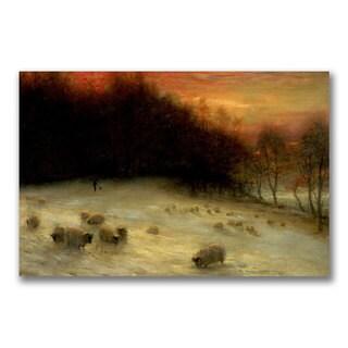 Joseph Farquharson 'Sheep in a Winter Landscape' Canvas Art