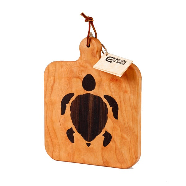 Cherry Wood Cheese Board with Sea Turtle Inlay