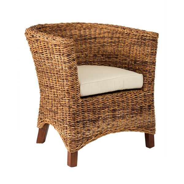 Meticulously Woven Abaca Accent Chair With Cushion