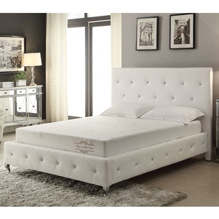 White Bonded Leather Platform Bed