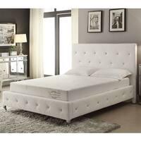 White Bonded Leather Platform Bed
