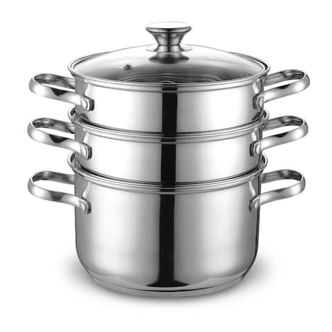 Cook N Home Stainless Steel Double Boiler/ Steamer Set 4-quart