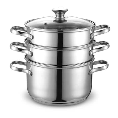 Cook N Home Stainless Steel Double Boiler/ Steamer Set 4-quart