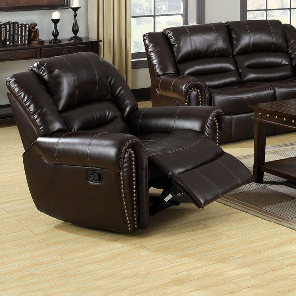 Furniture of America Harv Modern Brown Bonded Leather Recliner Chair