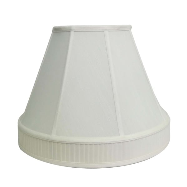 Round Pleated Bottom Off-white Silk Shade