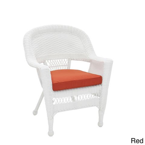 White Wicker Chair/ Cushion (Set of 4)