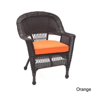 Espresso Wicker Chair/ Cushion (Set of 4) (Orange)