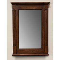 Light Walnut 24-inch Wall Mirror/ Side Pillars Design