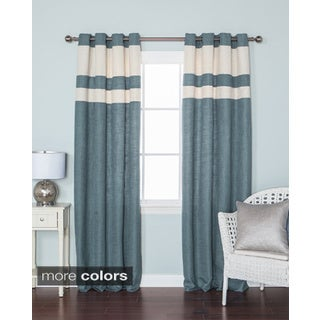 Aurora Home Striped Heavyweight Textured Faux Linen Grommet Top 84-inch Curtain Panel Pair