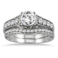 14k White Gold 1 3/4ct TDW White Diamond Bridal Set